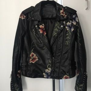 NWT Blank NYC Faux Leather Jacket w/ Embroidery